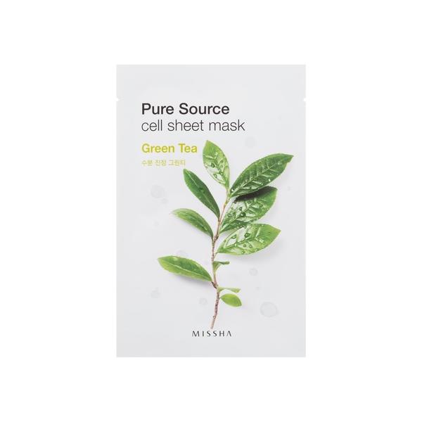 MISSHA Pure Source Cell Sheet kaukė su žaliąja arbata, 21g