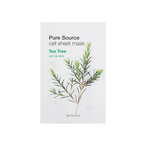 MISSHA Pure Source Cell Sheet kaukė su arbatmedžiu, 21g