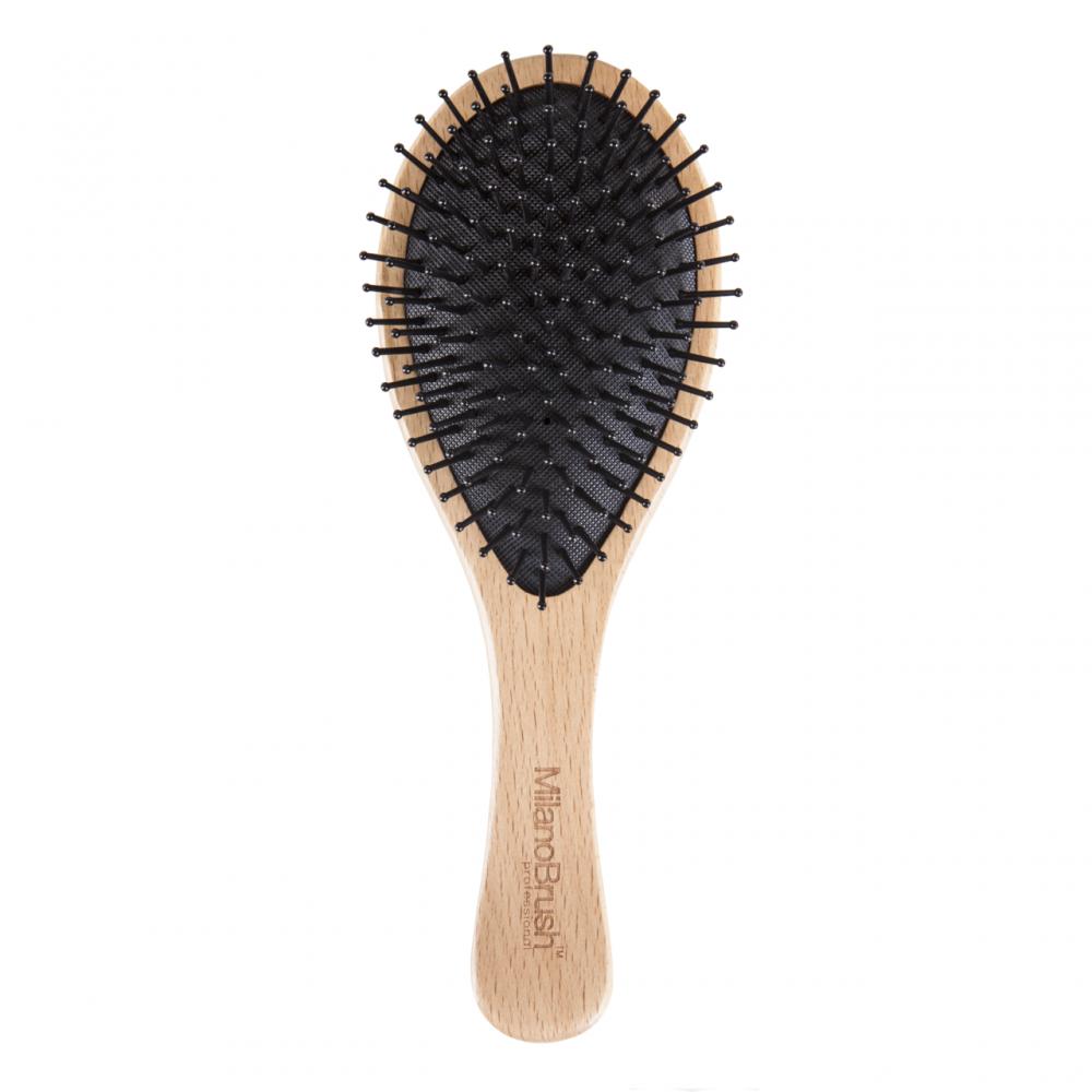 MilanoBrush Dory medinis plaukų šepetys